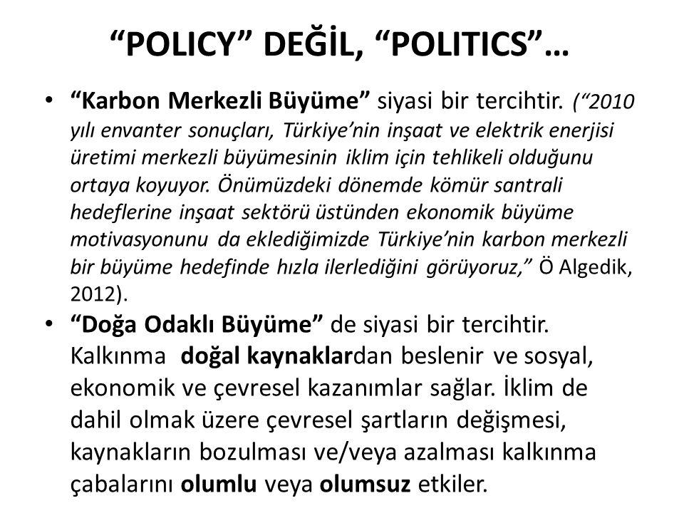 """""""POLICY"""" DEĞİL, """"POLITICS""""… """"Karbon Merkezli Büyüme"""" siyasi bir tercihtir. (""""2010 yılı envanter sonuçları, Türkiye'nin inşaat ve elektrik enerjisi üre"""