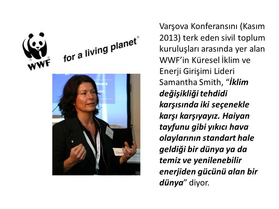 Varşova Konferansını (Kasım 2013) terk eden sivil toplum kuruluşları arasında yer alan WWF'in Küresel İklim ve Enerji Girişimi Lideri Samantha Smith,