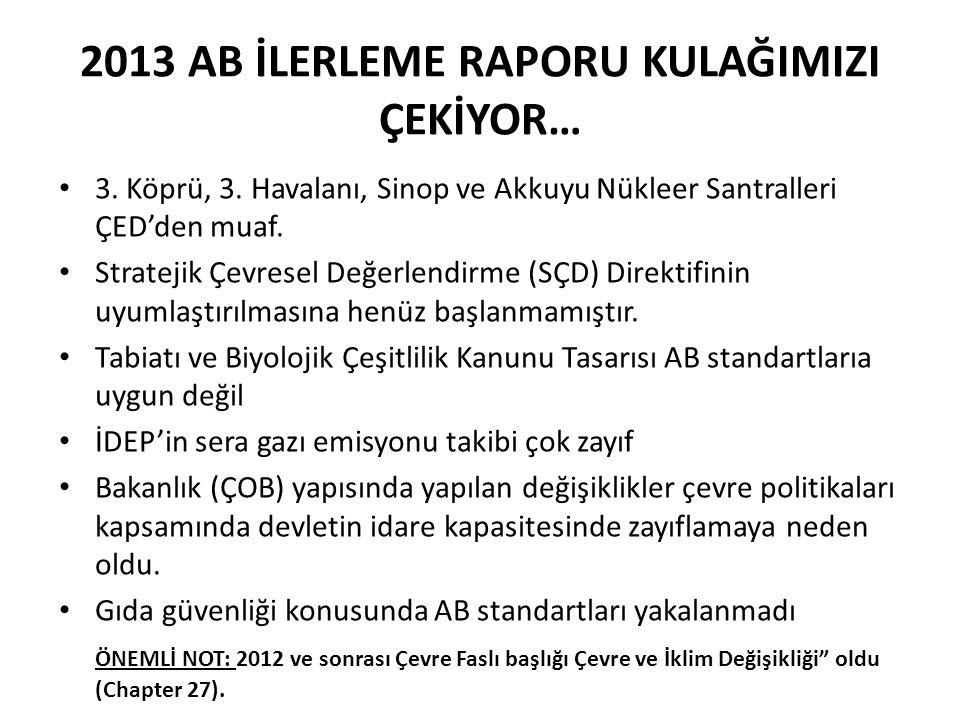 2013 AB İLERLEME RAPORU KULAĞIMIZI ÇEKİYOR… 3. Köprü, 3. Havalanı, Sinop ve Akkuyu Nükleer Santralleri ÇED'den muaf. Stratejik Çevresel Değerlendirme