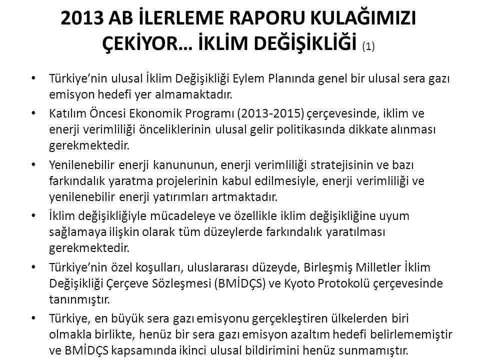 2013 AB İLERLEME RAPORU KULAĞIMIZI ÇEKİYOR… İKLİM DEĞİŞİKLİĞİ (1) Türkiye'nin ulusal İklim Değişikliği Eylem Planında genel bir ulusal sera gazı emisy
