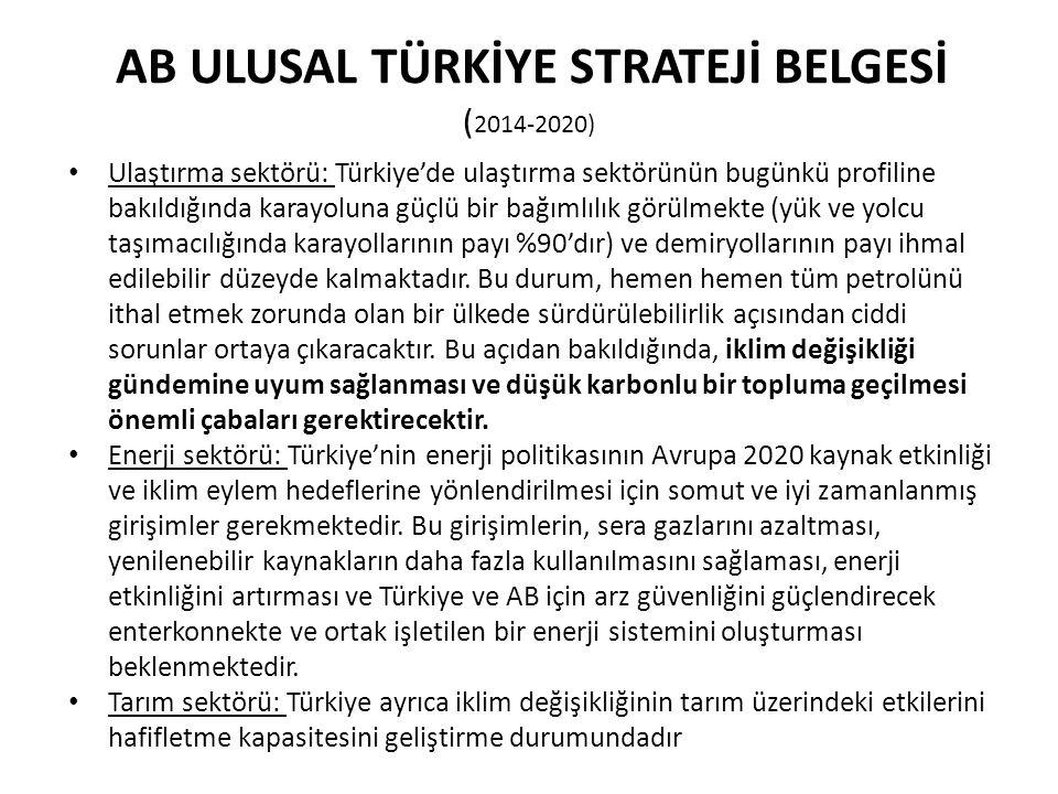 AB ULUSAL TÜRKİYE STRATEJİ BELGESİ ( 2014-2020) Ulaştırma sektörü: Türkiye'de ulaştırma sektörünün bugünkü profiline bakıldığında karayoluna güçlü bir