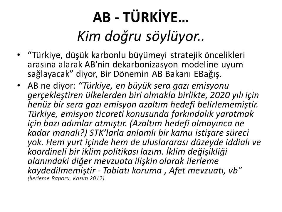 """AB - TÜRKİYE… Kim doğru söylüyor.. """"Türkiye, düşük karbonlu büyümeyi stratejik öncelikleri arasına alarak AB'nin dekarbonizasyon modeline uyum sağlaya"""