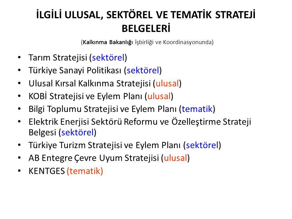 İLGİLİ ULUSAL, SEKTÖREL VE TEMATİK STRATEJİ BELGELERİ (Kalkınma Bakanlığı İşbirliği ve Koordinasyonunda) Tarım Stratejisi (sektörel) Türkiye Sanayi Po