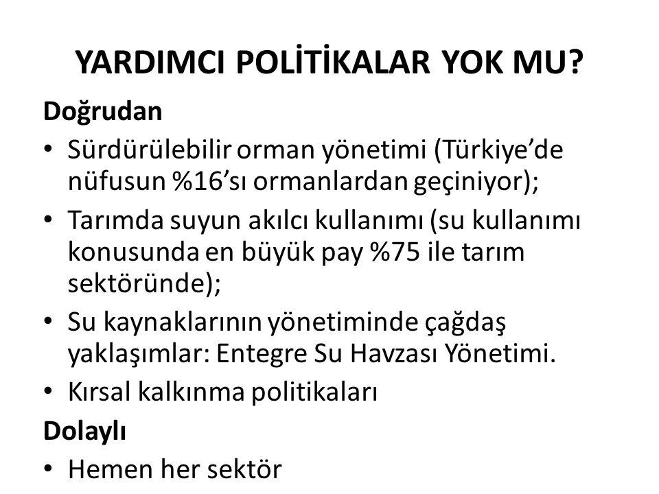 YARDIMCI POLİTİKALAR YOK MU? Doğrudan Sürdürülebilir orman yönetimi (Türkiye'de nüfusun %16'sı ormanlardan geçiniyor); Tarımda suyun akılcı kullanımı