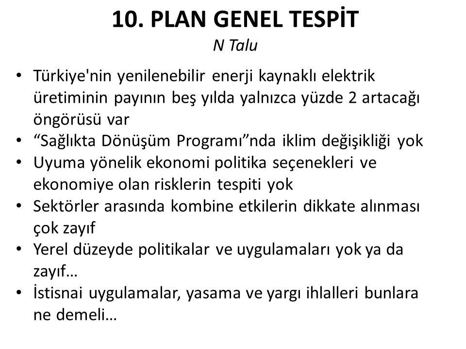 """10. PLAN GENEL TESPİT N Talu Türkiye'nin yenilenebilir enerji kaynaklı elektrik üretiminin payının beş yılda yalnızca yüzde 2 artacağı öngörüsü var """"S"""