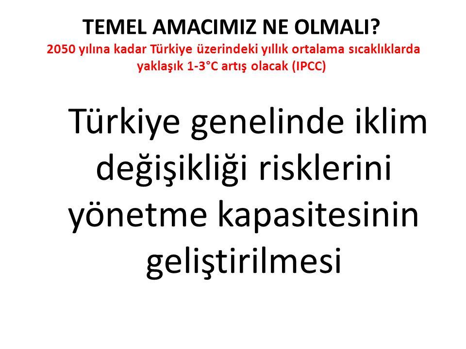 TEMEL AMACIMIZ NE OLMALI? 2050 yılına kadar Türkiye üzerindeki yıllık ortalama sıcaklıklarda yaklaşık 1-3°C artış olacak (IPCC) Türkiye genelinde ikli
