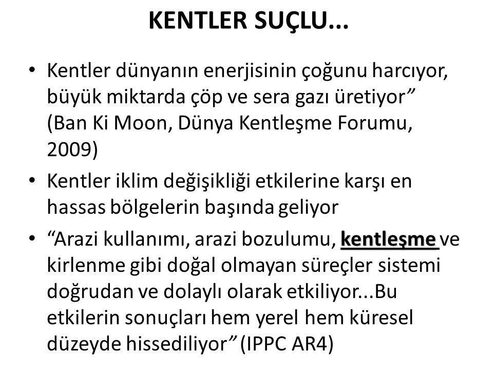"""KENTLER SUÇLU... Kentler dünyanın enerjisinin çoğunu harcıyor, büyük miktarda çöp ve sera gazı üretiyor"""" (Ban Ki Moon, Dünya Kentleşme Forumu, 2009) K"""