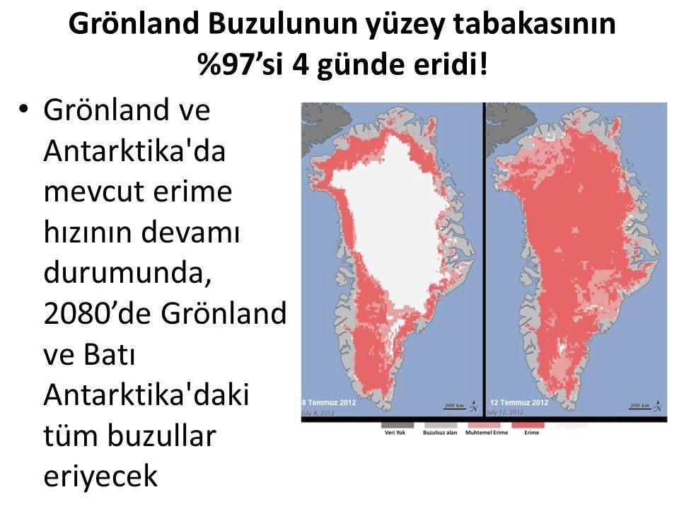 Grönland Buzulunun yüzey tabakasının %97'si 4 günde eridi! Grönland ve Antarktika'da mevcut erime hızının devamı durumunda, 2080'de Grönland ve Batı A