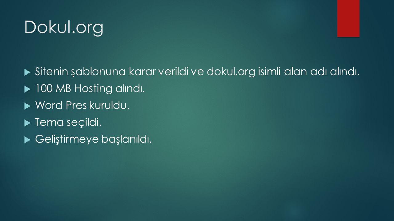 Dokul.org  Sitenin şablonuna karar verildi ve dokul.org isimli alan adı alındı.