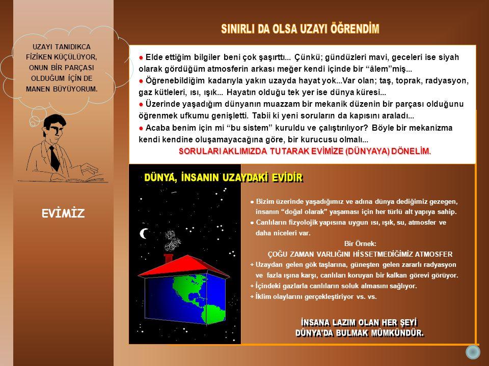 EVİMİZ ● ● Elde ettiğim bilgiler beni çok şaşırttı... Çünkü; gündüzleri mavi, geceleri ise siyah olarak gördüğüm atmosferin arkası meğer kendi içinde