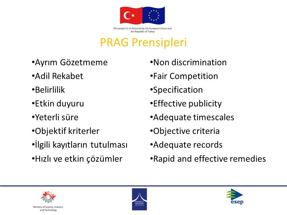 PRAG Prensipleri Ayrım Gözetmeme Adil Rekabet Belirlilik Etkin duyuru Yeterli süre Objektif kriterler İlgili kayıtların tutulması Hızlı ve etkin çözüm