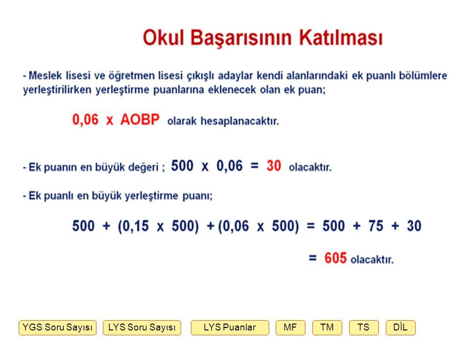 Okul Başarısının Katılması - AOBP mevcut hesaplama yöntemine göre hesaplanacak, ancak değer aralığı 50-100 yerine 100 - 500 olacaktır.