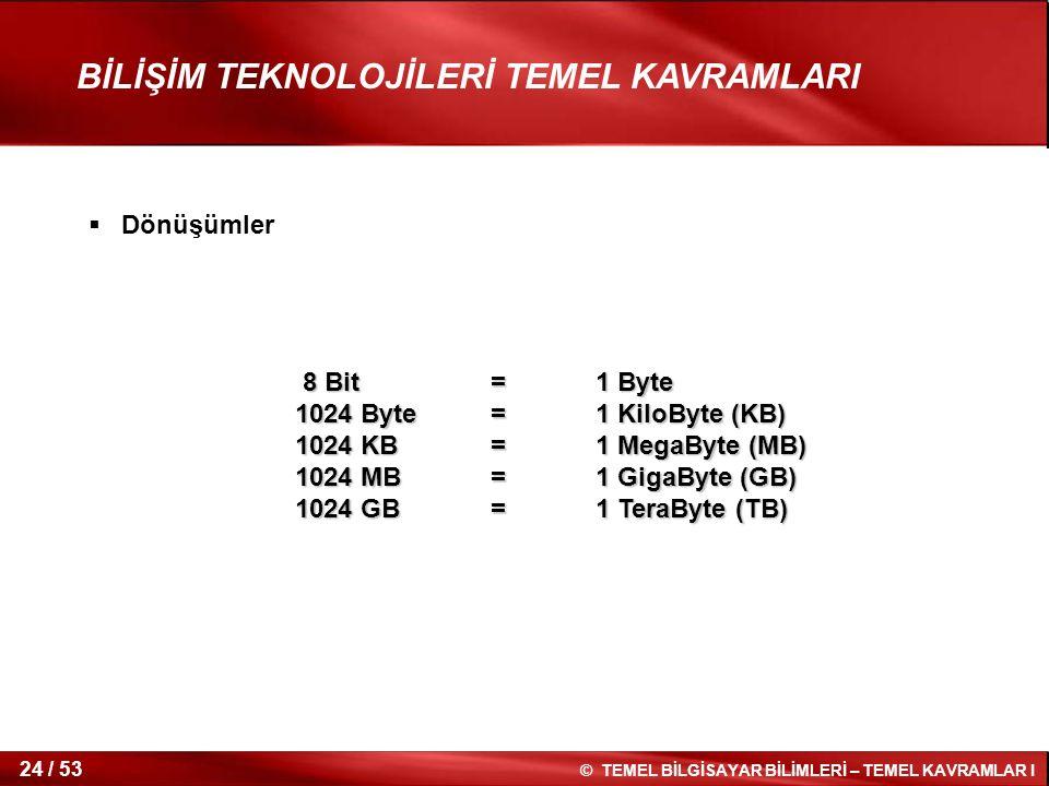 © TEMEL BİLGİSAYAR BİLİMLERİ – TEMEL KAVRAMLAR I 24 / 53 BİLİŞİM TEKNOLOJİLERİ TEMEL KAVRAMLARI 8 Bit=1 Byte 8 Bit=1 Byte 1024 Byte=1 KiloByte (KB) 10