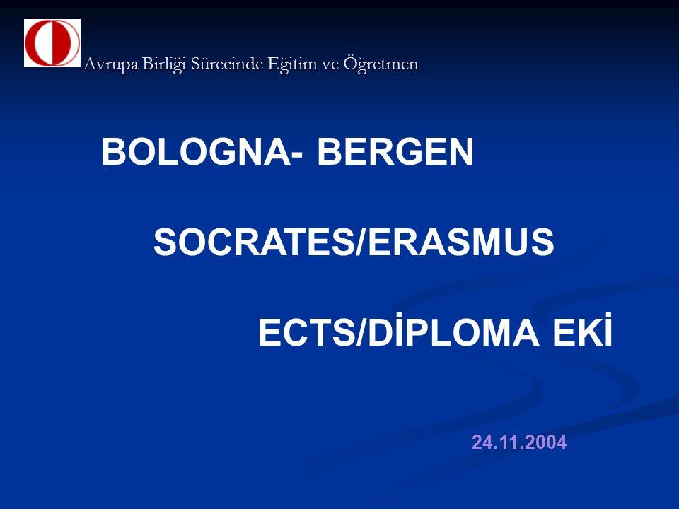 BOLOGNA- BERGEN SOCRATES/ERASMUS ECTS/DİPLOMA EKİ 24.11.2004 Avrupa Birliği Sürecinde Eğitim ve Öğretmen Avrupa Birliği Sürecinde Eğitim ve Öğretmen