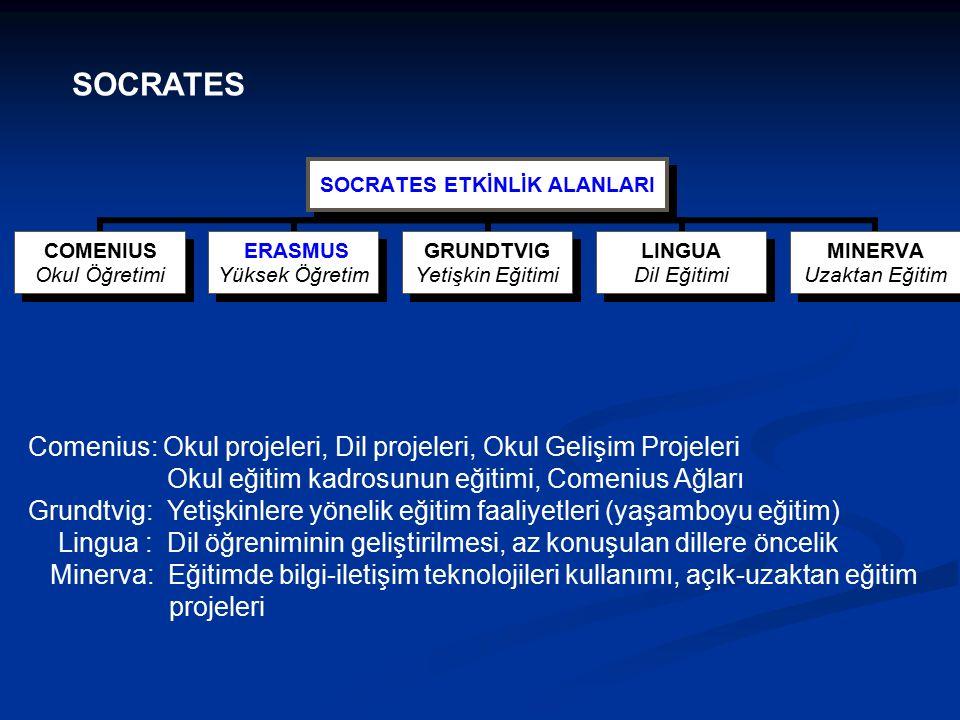 Comenius: Okul projeleri, Dil projeleri, Okul Gelişim Projeleri Okul eğitim kadrosunun eğitimi, Comenius Ağları Grundtvig: Yetişkinlere yönelik eğitim faaliyetleri (yaşamboyu eğitim) Lingua : Dil öğreniminin geliştirilmesi, az konuşulan dillere öncelik Minerva: Eğitimde bilgi-iletişim teknolojileri kullanımı, açık-uzaktan eğitim projeleri SOCRATES ETKİNLİK ALANLARI COMENIUS Okul Öğretimi ERASMUS Yüksek Öğretim GRUNDTVIG Yetişkin Eğitimi LINGUA Dil Eğitimi MINERVA Uzaktan Eğitim SOCRATES
