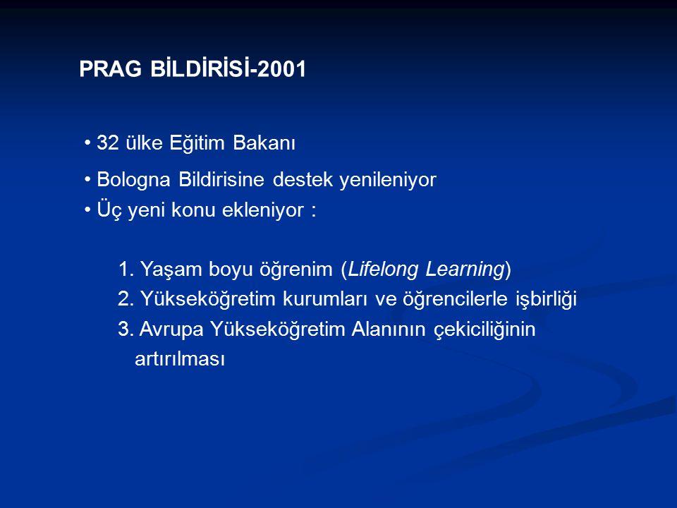 32 ülke Eğitim Bakanı Bologna Bildirisine destek yenileniyor Üç yeni konu ekleniyor : 1.