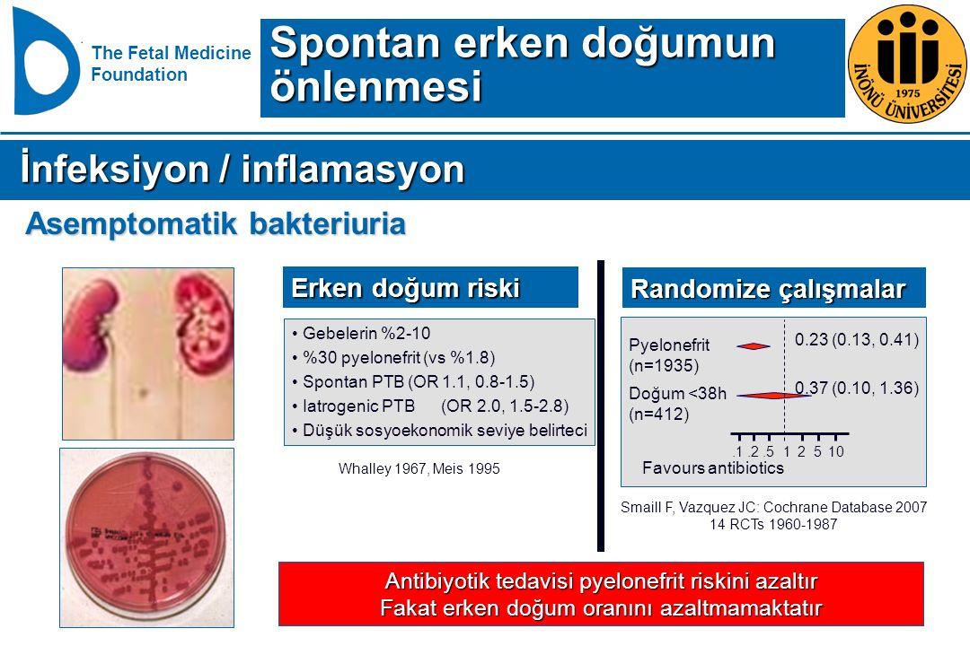The Fetal Medicine Foundation Antibiyotik tedavisi pyelonefrit riskini azaltır Fakat erken doğum oranını azaltmamaktatır Whalley 1967, Meis 1995 Gebel
