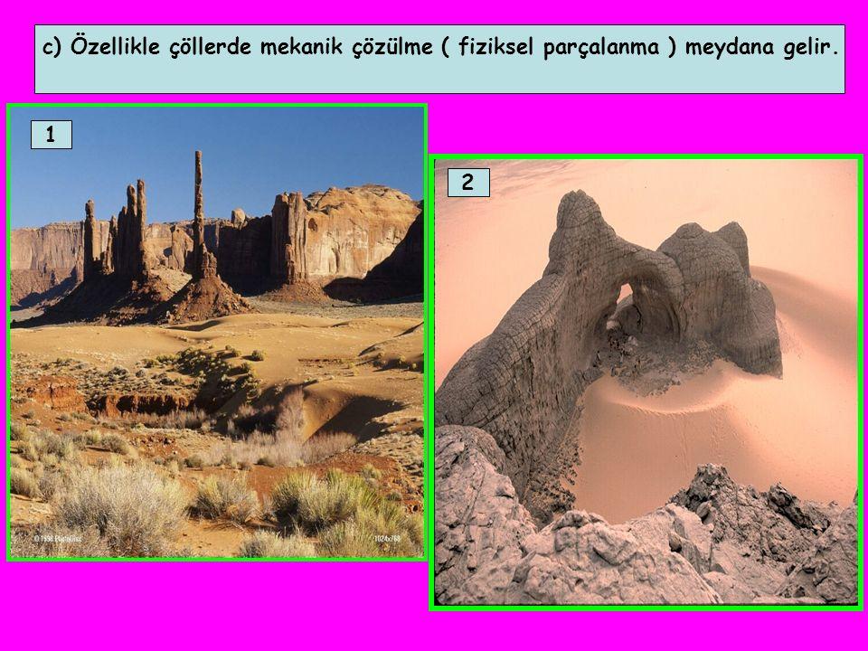 c) Özellikle çöllerde mekanik çözülme ( fiziksel parçalanma ) meydana gelir. 1 2