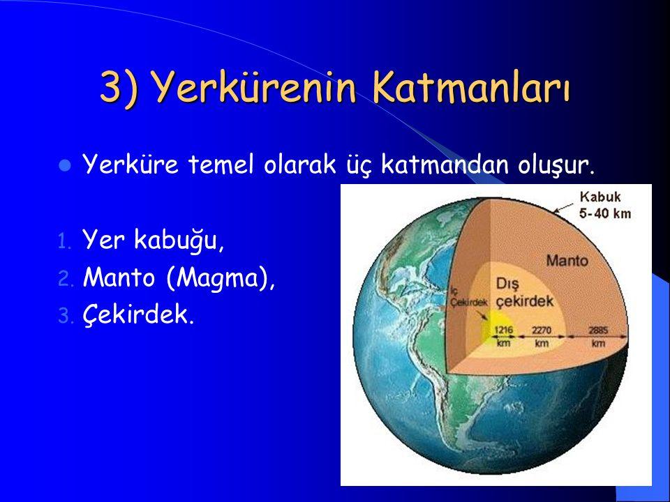 10 3) Yerkürenin Katmanları Yerküre temel olarak üç katmandan oluşur. 1. Yer kabuğu, 2. Manto (Magma), 3. Çekirdek.