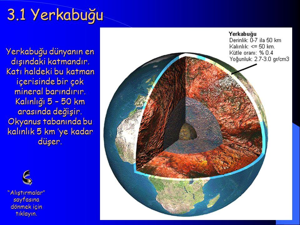 11 3.1 Yerkabuğu Yerkabuğu dünyanın en dışındaki katmandır. Katı haldeki bu katman içerisinde bir çok mineral barındırır. Kalınlığı 5 – 50 km arasında