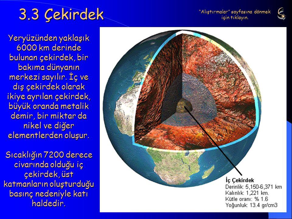 14 3.3 Çekirdek Yeryüzünden yaklaşık 6000 km derinde bulunan çekirdek, bir bakıma dünyanın merkezi sayılır. İç ve dış çekirdek olarak ikiye ayrılan çe