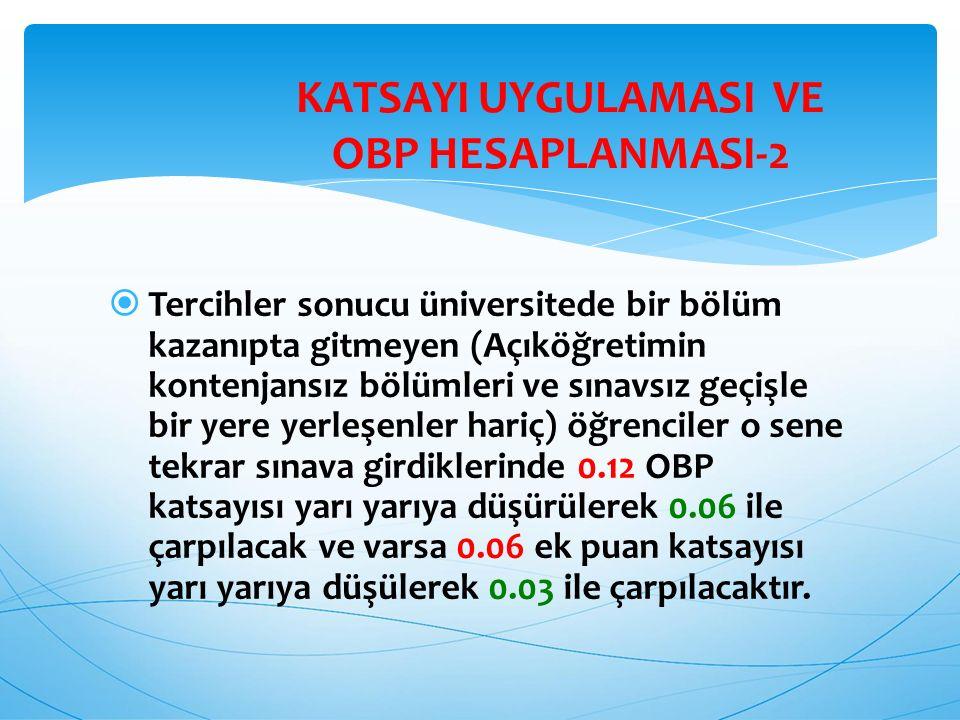  Yerleştirme puanları hesaplanırken, Ortaöğretim Başarı Puanı (OBP) 0,12 ile çarpılarak sınav puanlarına (YGS ve LYS puanları) eklenecektir.