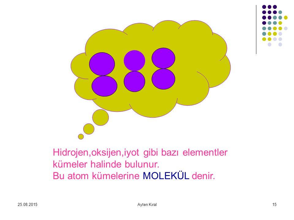 25.08.2015Ayten Kıral14 Çok sayıda aynı çeşit atomların bir araya gelerek oluşturduğu maddeye ELEMENT denir. Elementlerdeki atomlar tek çeşittir. Elem