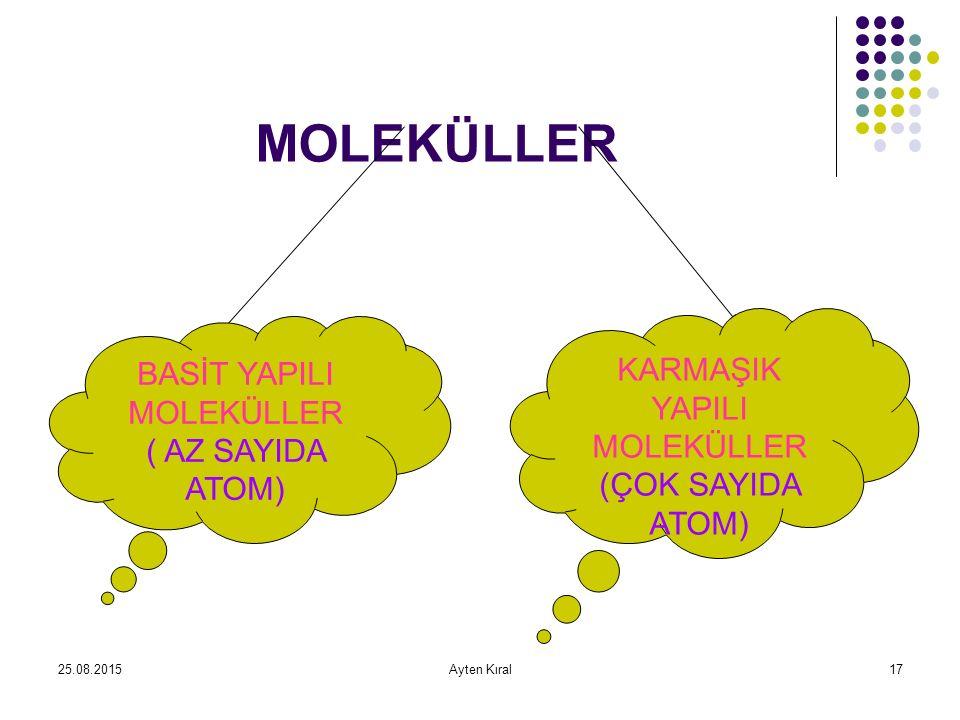 25.08.2015Ayten Kıral16 Moleküller iki atomdan oluştuğu gibi çok fazla sayı da atomdan da oluşur Bazı moleküller tek çeşit atomdan oluşurken; bazı moleküller farklı çeşit atomlardan oluşur.