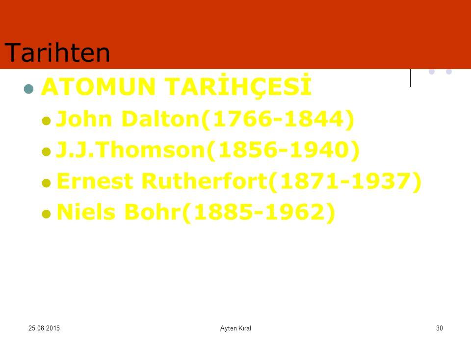 25.08.2015Ayten Kıral29 Dalton, atom hakkındaki düşüncelerini açıklamak için ilk atom modelleri olarak ders kitabımızın 89. sayfasındaki resimde yer a