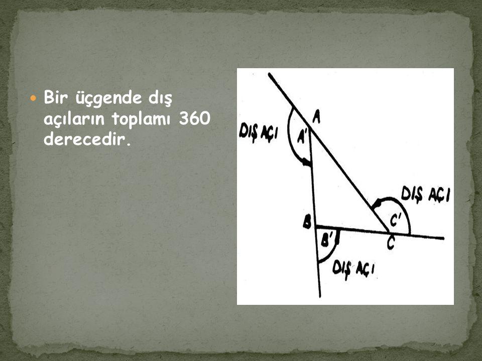 Bir üçgende iki kenarın farkı üçüncü kenarından küçüktür. Bir üçgende iki kenarın toplamı, üçüncü kenarından büyüktür.