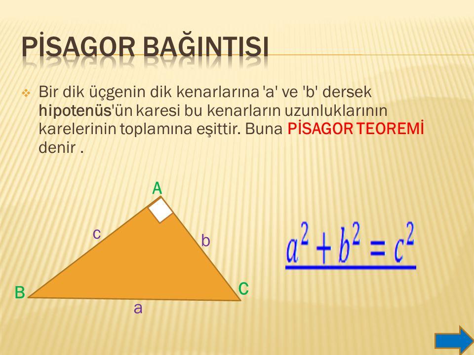  Bir dik üçgenin dik kenarlarına a ve b dersek hipotenüs ün karesi bu kenarların uzunluklarının karelerinin toplamına eşittir.