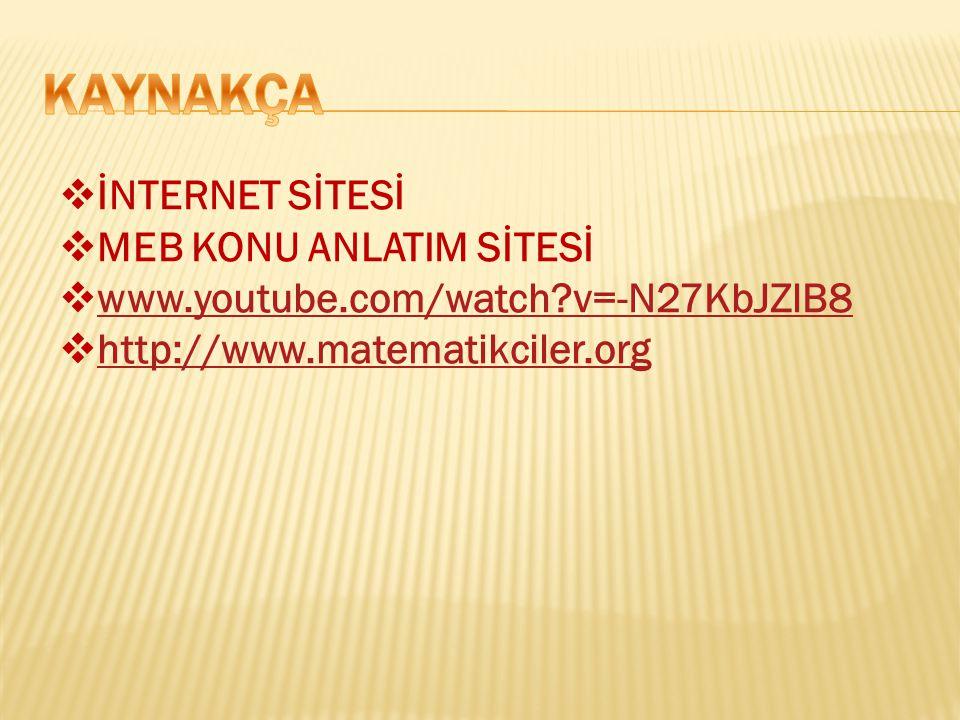  İNTERNET SİTESİ  MEB KONU ANLATIM SİTESİ  www.youtube.com/watch?v=-N27KbJZlB8 www.youtube.com/watch?v=-N27KbJZlB8  http://www.matematikciler.org http://www.matematikciler.org