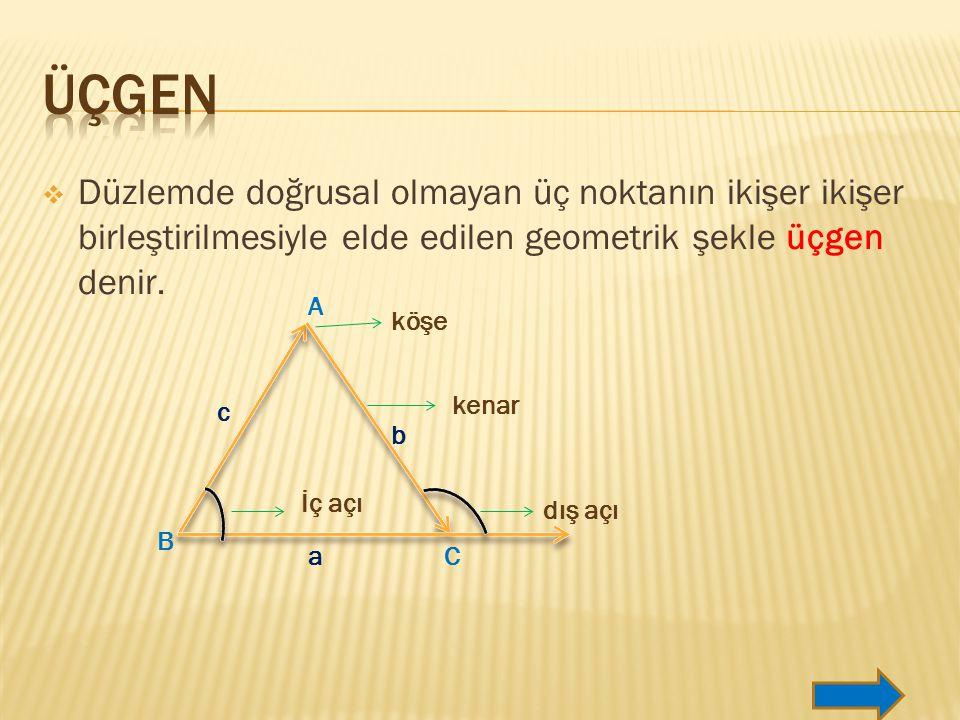  Düzlemde doğrusal olmayan üç noktanın ikişer ikişer birleştirilmesiyle elde edilen geometrik şekle üçgen denir.