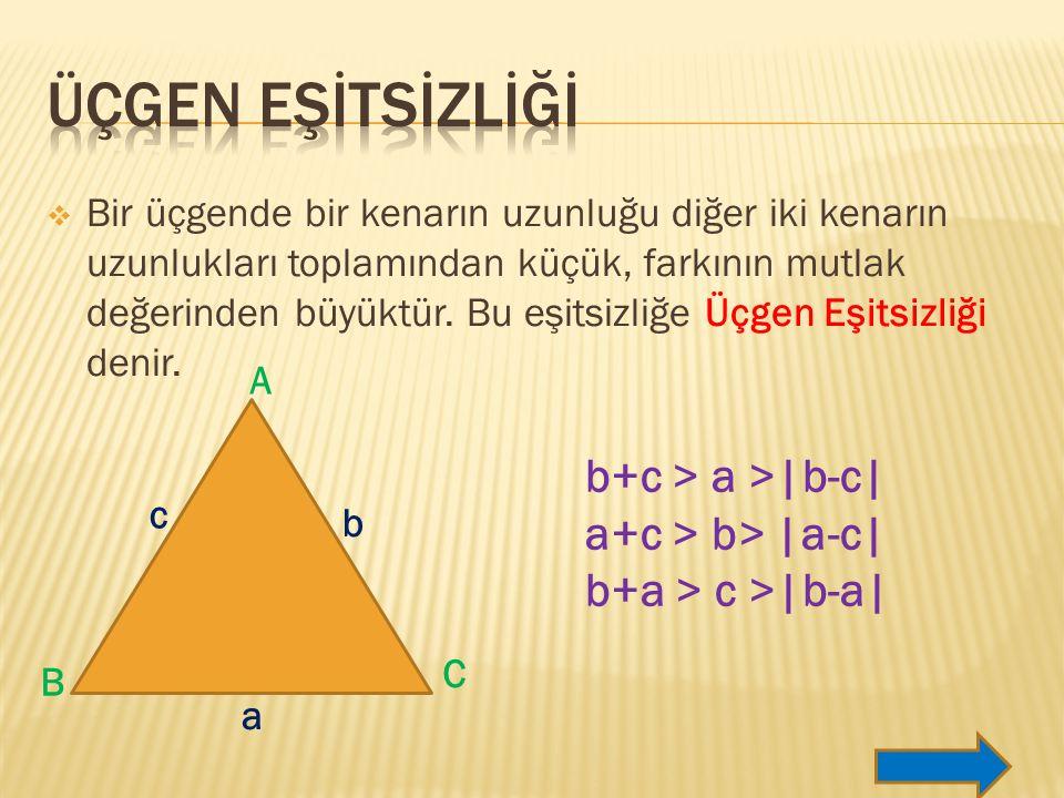  Bir üçgende bir kenarın uzunluğu diğer iki kenarın uzunlukları toplamından küçük, farkının mutlak değerinden büyüktür.
