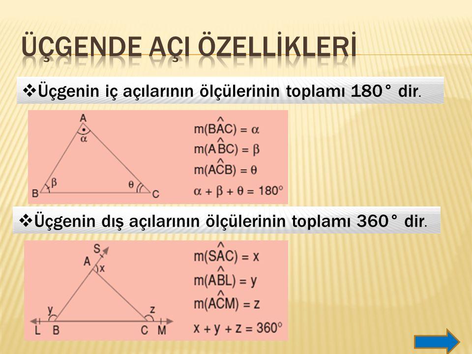  Üçgenin dış açılarının ölçülerinin toplamı 360° dir.