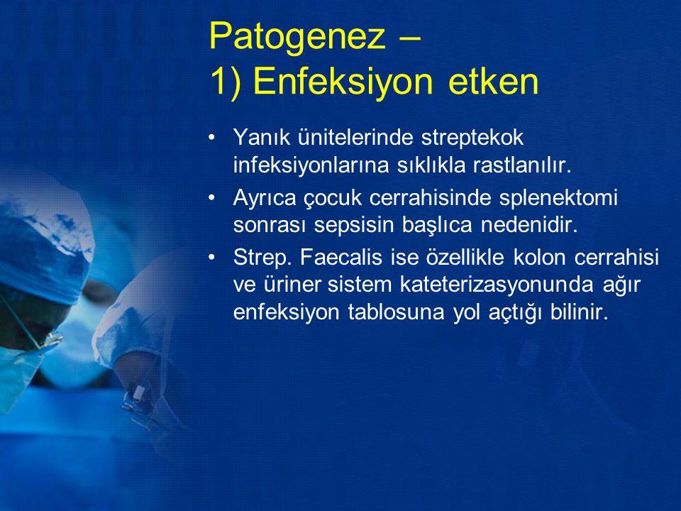 Patogenez – 1) Enfeksiyon etken Yanık ünitelerinde streptekok infeksiyonlarına sıklıkla rastlanılır. Ayrıca çocuk cerrahisinde splenektomi sonrası sep