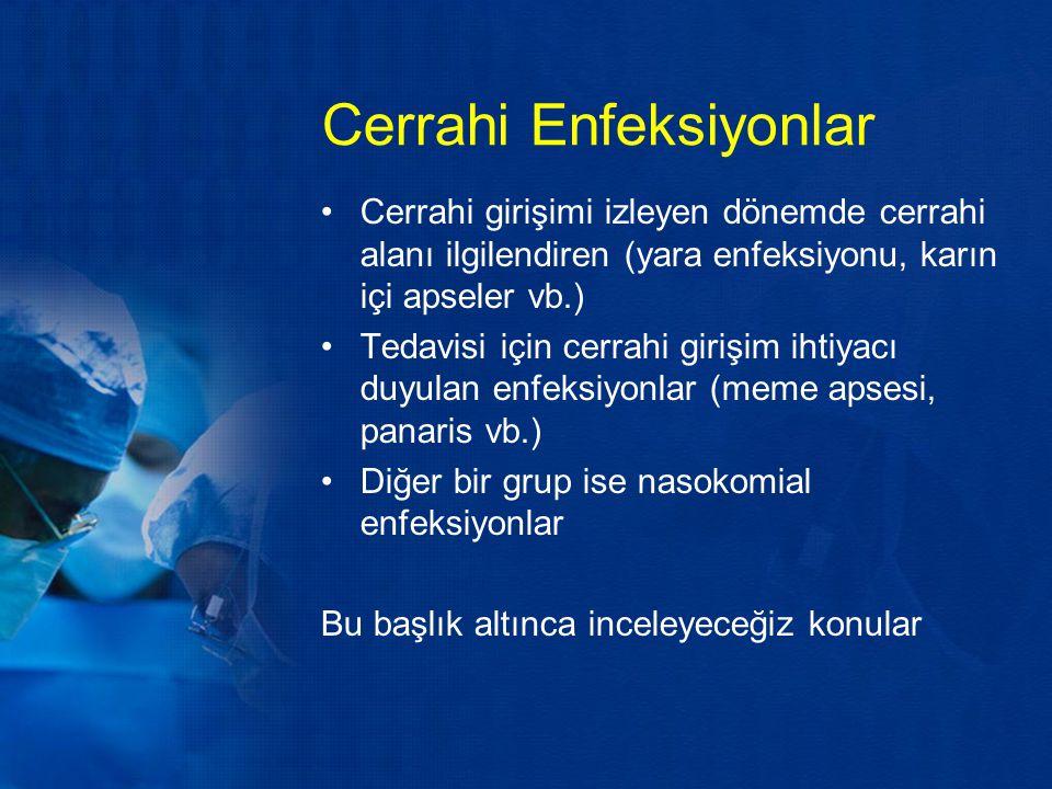 Cerrahi Enfeksiyonlar Cerrahi girişimi izleyen dönemde cerrahi alanı ilgilendiren (yara enfeksiyonu, karın içi apseler vb.) Tedavisi için cerrahi giri