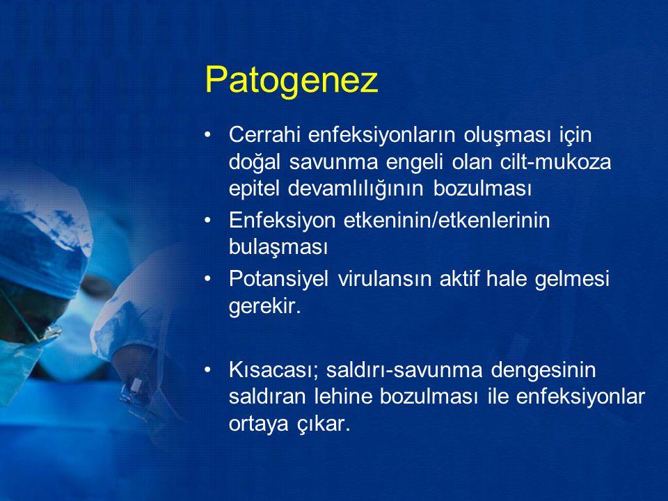 Patogenez Cerrahi enfeksiyonların oluşması için doğal savunma engeli olan cilt-mukoza epitel devamlılığının bozulması Enfeksiyon etkeninin/etkenlerini
