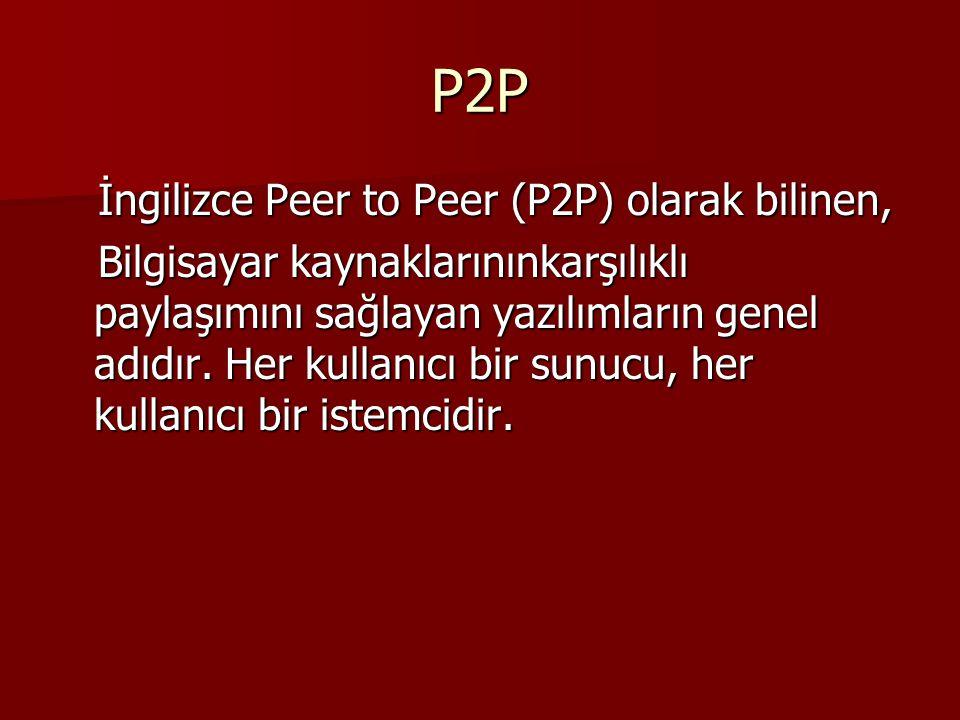 P2P İngilizce Peer to Peer (P2P) olarak bilinen, İngilizce Peer to Peer (P2P) olarak bilinen, Bilgisayar kaynaklarınınkarşılıklı paylaşımını sağlayan yazılımların genel adıdır.