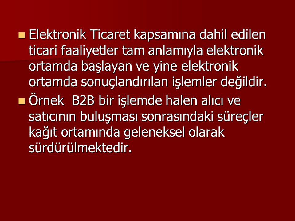 Elektronik Ticaret kapsamına dahil edilen ticari faaliyetler tam anlamıyla elektronik ortamda başlayan ve yine elektronik ortamda sonuçlandırılan işlemler değildir.
