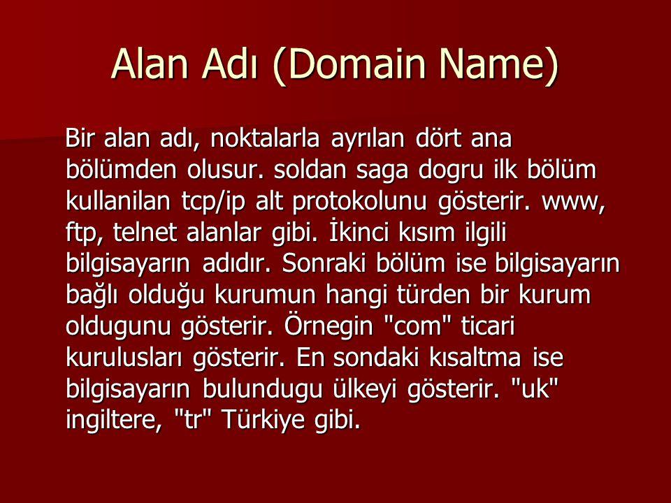 Alan Adı (Domain Name) Bir alan adı, noktalarla ayrılan dört ana bölümden olusur.