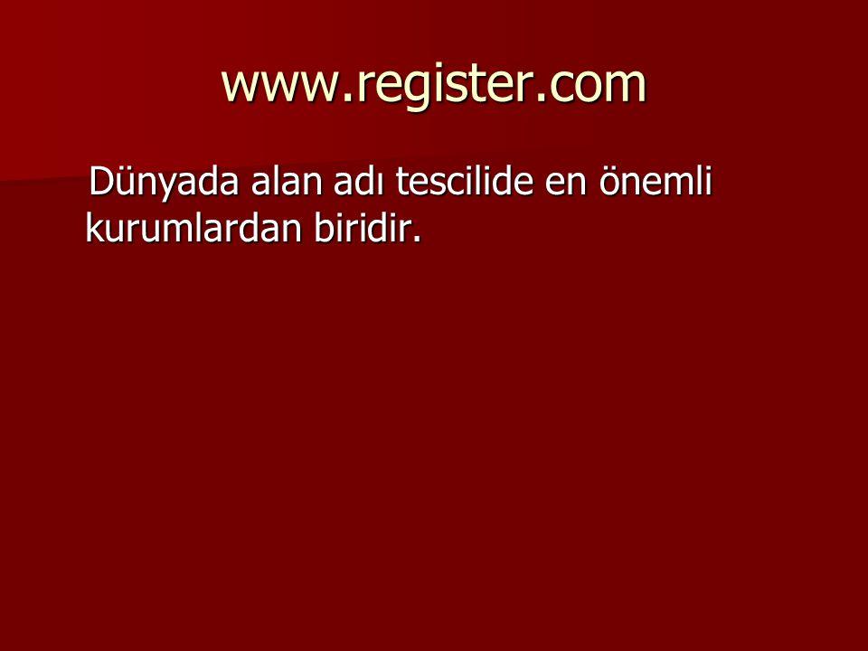 www.register.com Dünyada alan adı tescilide en önemli kurumlardan biridir.