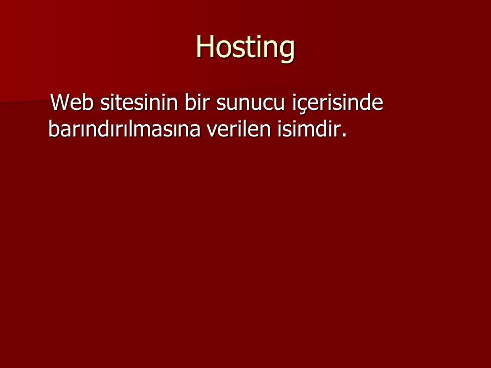 Hosting Web sitesinin bir sunucu içerisinde barındırılmasına verilen isimdir.