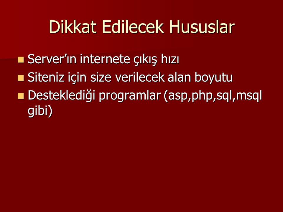 Dikkat Edilecek Hususlar Server'ın internete çıkış hızı Server'ın internete çıkış hızı Siteniz için size verilecek alan boyutu Siteniz için size verilecek alan boyutu Desteklediği programlar (asp,php,sql,msql gibi) Desteklediği programlar (asp,php,sql,msql gibi)