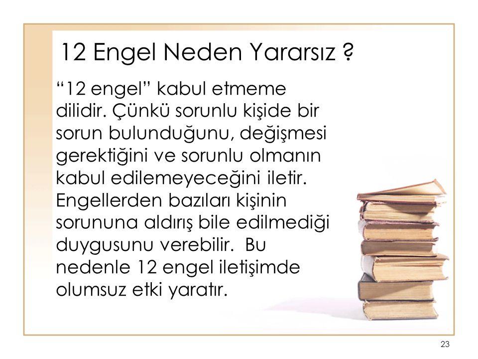 """23 """"12 engel"""" kabul etmeme dilidir. Çünkü sorunlu kişide bir sorun bulunduğunu, değişmesi gerektiğini ve sorunlu olmanın kabul edilemeyeceğini iletir."""