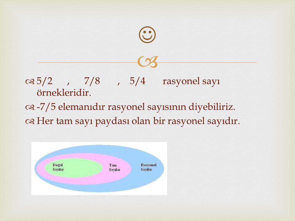   5/2, 7/8, 5/4 rasyonel sayı örnekleridir. -7/5 elemanıdır rasyonel sayısının diyebiliriz.