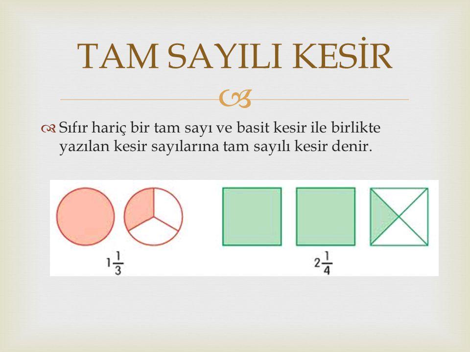   Sıfır hariç bir tam sayı ve basit kesir ile birlikte yazılan kesir sayılarına tam sayılı kesir denir.