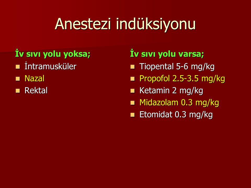 Anestezi indüksiyonu İv sıvı yolu yoksa; İntramusküler İntramusküler Nazal Nazal Rektal Rektal İv sıvı yolu varsa; Tiopental 5-6 mg/kg Tiopental 5-6 m