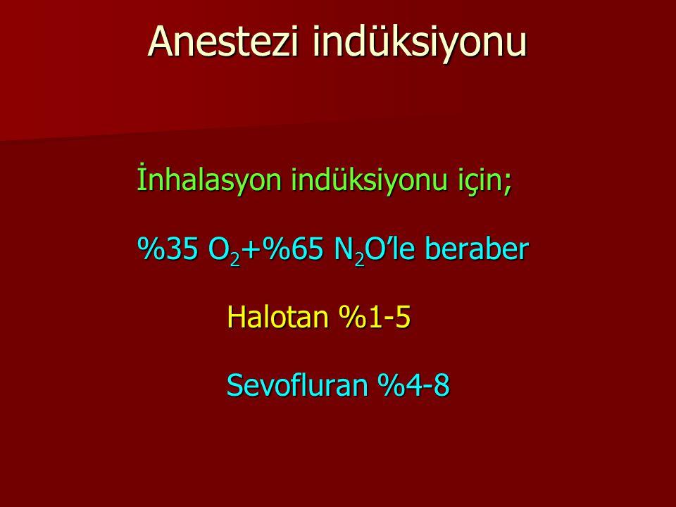İnhalasyon indüksiyonu için; %35 O 2 +%65 N 2 O'le beraber Halotan %1-5 Sevofluran %4-8 Anestezi indüksiyonu