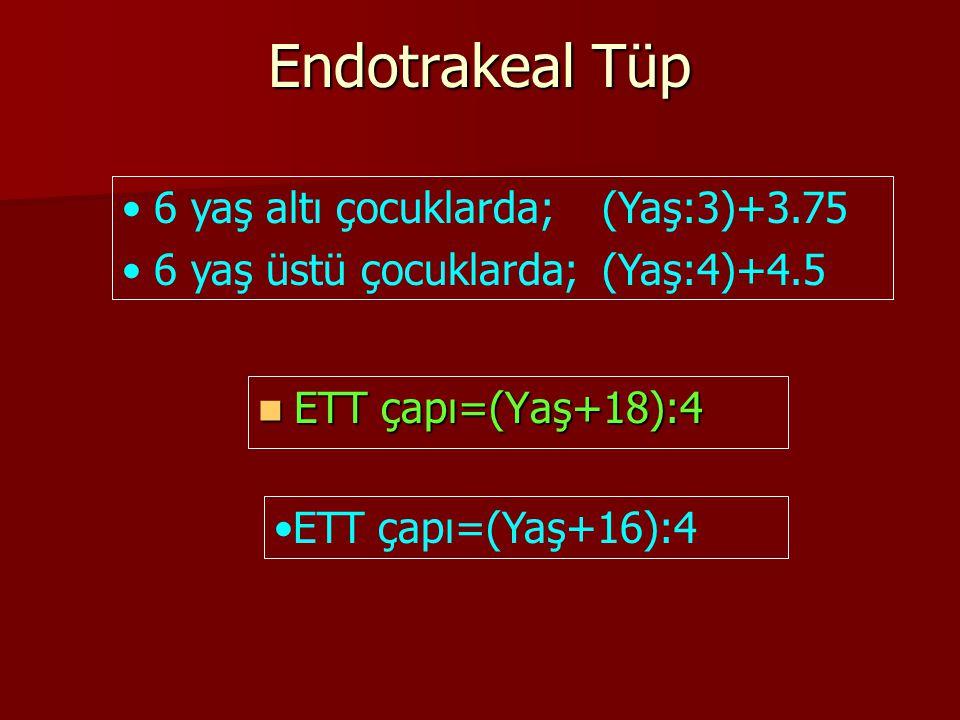 Endotrakeal Tüp ETT çapı=(Yaş+18):4 ETT çapı=(Yaş+18):4 6 yaş altı çocuklarda;(Yaş:3)+3.75 6 yaş üstü çocuklarda; (Yaş:4)+4.5 ETT çapı=(Yaş+16):4